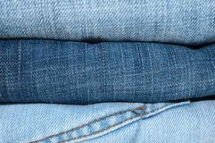 Stack of blue jeans outerwear. Stock Photography
