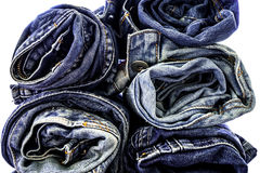 Stack of blue jeans Royalty Free Stock Photography