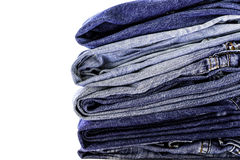 Stack of blue jeans Stock Image