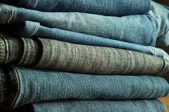 Jeans. Stack of blue old  jeans of gross matter Royalty Free Stock Images