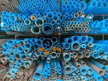 The stack of pipes in construction shop royalty free stock images