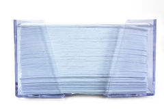 Stack of blue paper in a transparent box Royalty Free Stock Photography