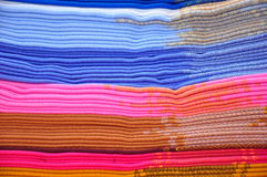 Stack of blue and pink alpaca blankets Royalty Free Stock Photos
