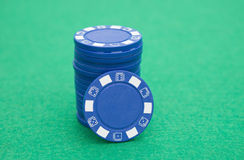 Stack of blue poker chips Stock Photos