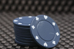 A stack of blue poker chips Stock Image