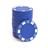 Stack of blue poker chips Royalty Free Stock Images