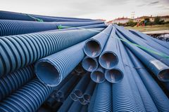 Stack of Blue Pvc Pipes Royalty Free Stock Photo
