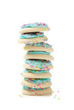 Stack of blue sugar cookies on a white background Royalty Free Stock Photos