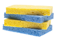 Stack of Blue and Yellow Sponges Stock Photos