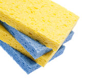 Stack of Blue and Yellow Sponges Border Stock Photography