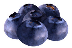 Stack of blueberries isolated on white with clipping path. Isolated blueberries. Stack of blueberries isolated on white background as package design element royalty free stock photo