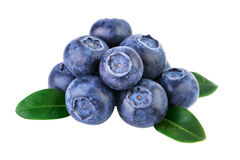 Stack of blueberries isolated on white with clipping path Stock Photo