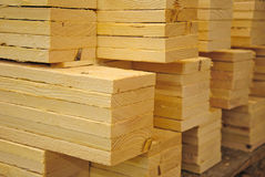 Stack of boards. The production of wood pallets Stock Photography