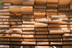 Stack of boards. Pattern of wood boards left out to dry Stock Photography
