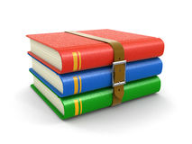 Stack of book with belt (clipping path included) vector illustration