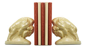 A stack of book between bookends Stock Photos