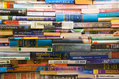 Stack book on Bookshelves in Book Store Royalty Free Stock Photo