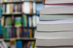 Stack of book. In library in library Stock Photos