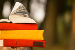 Stack of book and Open hardback book on blurred nature landscape backdrop. Copy space, back to school. Education background. Stock Photography