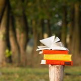 Stack of book and Open hardback book on blurred nature landscape backdrop. Copy space, back to school. Education background. Stack of book and Open hardback stock photos