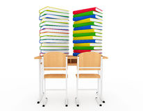 Stack of Book over School Desk Stock Image