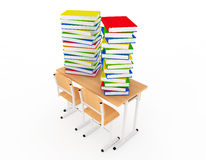 Stack of Book over School Desk Stock Photo