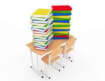 Stack of Book over School Desk Stock Photography