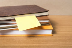 Stack of book with sticky note Royalty Free Stock Images