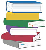 Stack of Books. With each book in a different view.  Two books have bookmarks Royalty Free Stock Photos