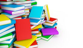 Stack of books. Stack of colorful books - 3d render stock illustration