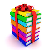 Stack of books. Gift from books. 3D render Stock Photo