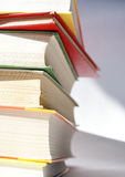 Stack of books 2. Books of different colors stacked and shot in closeup Stock Photography