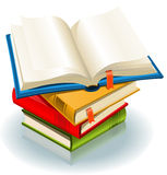 Stack Of Books. Illustration of a stack of elegant books and one book opened with page bookmark Stock Photos