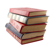 Stack of books. Picture a stack of old books in hard cover on a white background Stock Photos