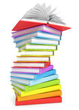 Stack of books. With open book on the top. Isolated on white background. 3d render Royalty Free Stock Photography