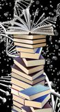 Stack of books against chain of DNA. Close-up Royalty Free Stock Image