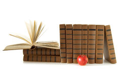 Stack of books and apple Royalty Free Stock Images