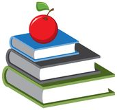 Stack of books and an apple. Vector cartoon Stock Photo