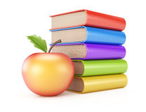 Stack of books and apple. On white background. 3d rendering illustration Stock Images