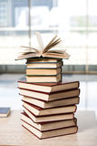 The stack of books arranged the office desk. Stack of books arranged the office desk royalty free stock image