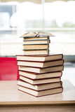 The stack of books arranged the office desk. Stack of books arranged the office desk stock photos