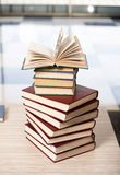 The stack of books arranged the office desk. Stack of books arranged the office desk stock image