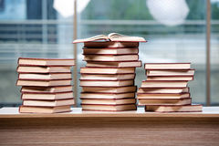 The stack of books arranged the office desk. Stack of books arranged the office desk royalty free stock photography