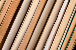 Stack of books background - close up Stock Photo