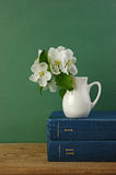 A stack of books and bird cherry branch in a jug Stock Photo