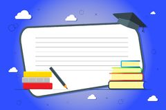 A stack of books on a blue background. Knowledge, education, background study. Vector illustrations with a place for your text stock illustration