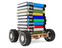 Stack of Books with car wheels Stock Images