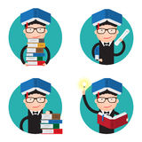 Stack of books, certificate, oath, a new idea. Set of icons about the University. A stack of books, certificate, oath, a new idea Stock Image
