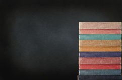 Stack of Books with Chalkboard Stock Image