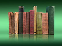 Stack of books on the color gradient background, space for text Stock Photography